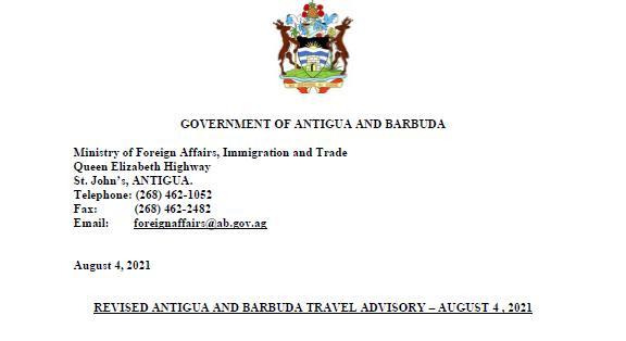 Revised Antigua And Barbuda Travel Advisory – August 4 , 2021
