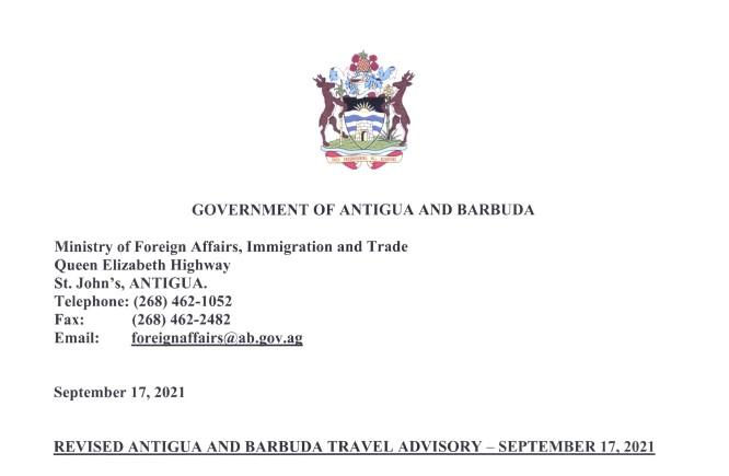 17 September 2021 Travel Advisory